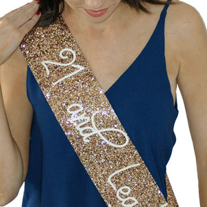 Adult Birthday  Sash - GOLD Glitter
