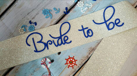 Bride to be Sash - WHITE Glitter