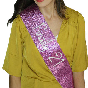 Adult Birthday  Sash - FUSCHIA PINK Glitter
