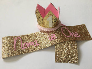 Personalised Sash & Crown 1st Birthday Set - Gold
