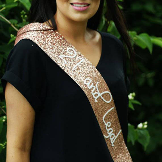 Adult Birthday  Sash - ROSE GOLD Glitter