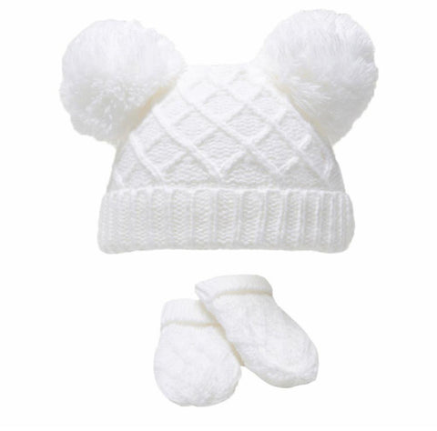 White Diamond Knit Pom-Pom Hat & Mitten Set