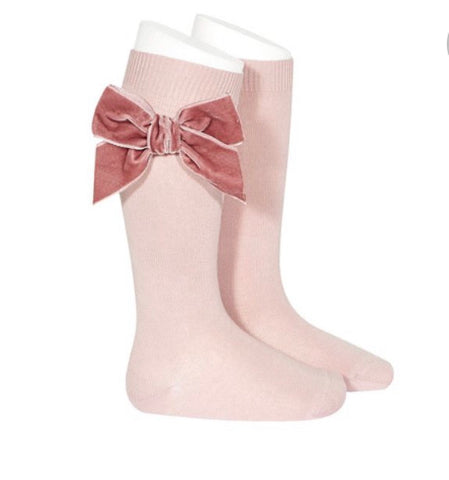 Condor Knee High Socks - Side Velvet Bow PINK 526