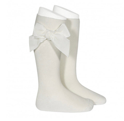Condor Knee High Socks - Side Velvet Bow CREAM 303