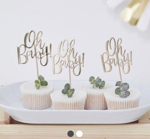 OH BABY! BABY SHOWER CUPCAKE TOPPERS