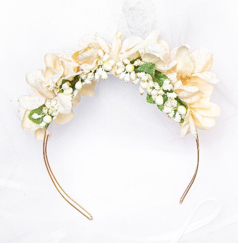 Cream & Gold floral Hairband - Flower Girl