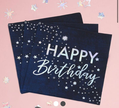 FOILED HAPPY BIRTHDAY PAPER NAPKINS - STARGAZER