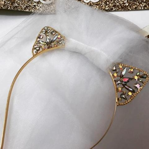 Gold Kitten Ears Veil