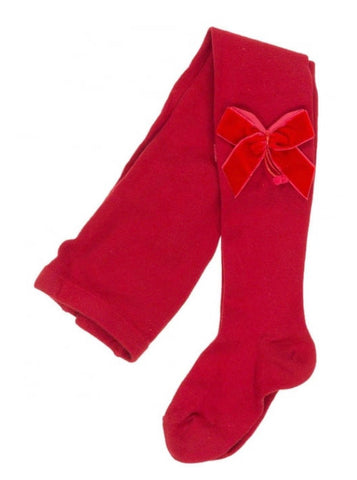 Condor Tights - Side Velvet Bow RED 550