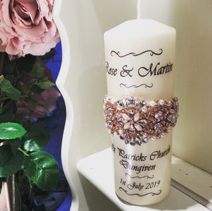 Wedding Candle - Elegant Pearls Pink