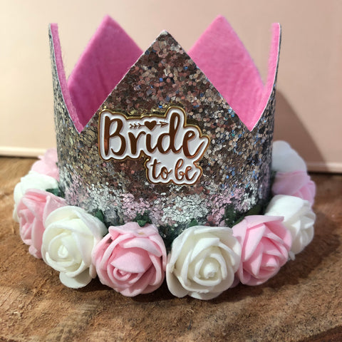 Silver Glitter Bride Crown