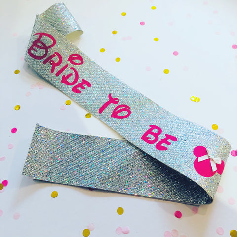 Disney Inspired Bride to be Glitter Sash - Silver