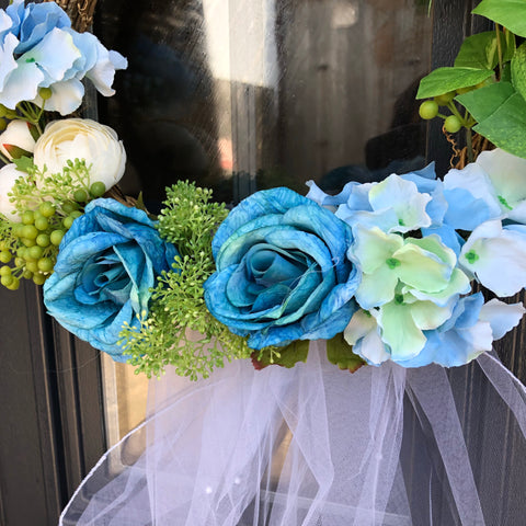 Front Door Wreath Wedding - Blue