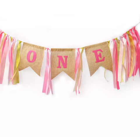 1st Birthday Cake Smash / Highchair garland Pink