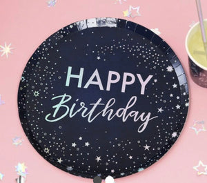 IRIDESCENT FOILED HAPPY BIRTHDAY PAPER PLATES - STARGAZER