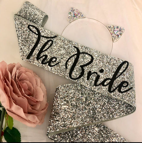 The Bride Sash - SILVER Glitter - Kitten Ears
