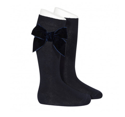 Condor Knee High Socks - Side Velvet Bow NAVY 480