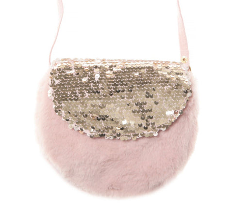 SHIMMER SEQUIN FUR BAG