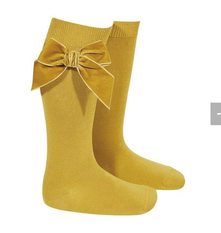 Condor Knee High Socks - Side Velvet Bow MUSTARD 629