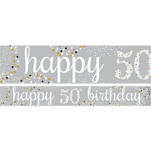 50th Birthday Paper Banners 1 design 1m each - 3 pack