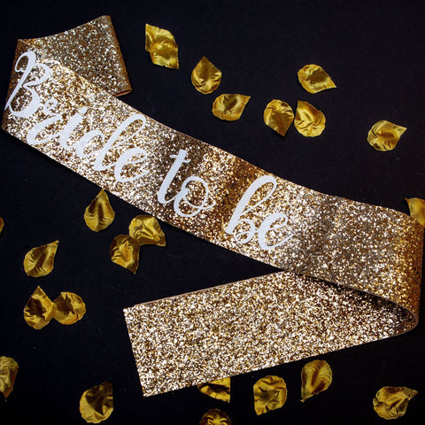 Gold Bride glitter sash - Little Black Dress Hen Party