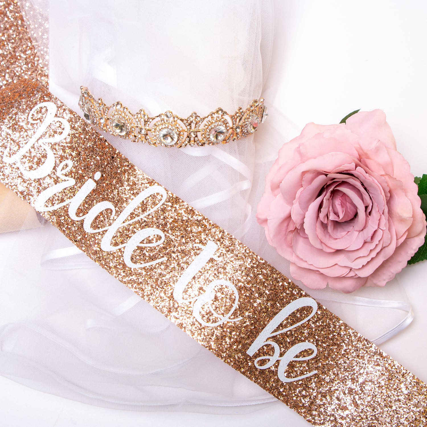 Bride to be Glitter Sash and Crown - Rose Gold Hen Party