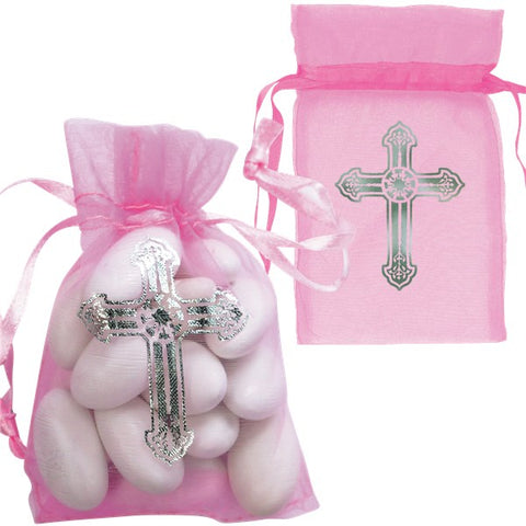 First Communion Pink Cross Organza Bags