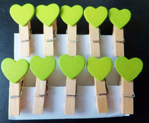 Green Heart Shape Wooden Clips