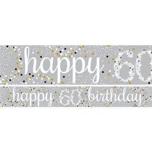 60th Birthday Paper Banners 1 design 1m each - 3 pack