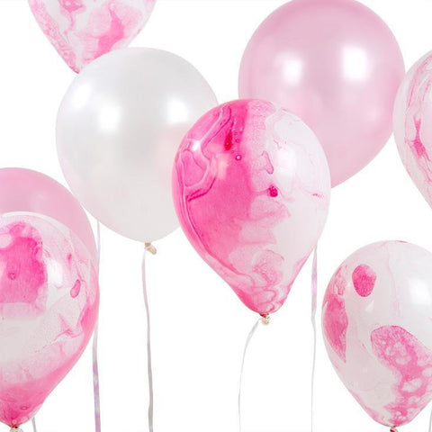 Pink Marble Effect Balloons - 12 Assorted