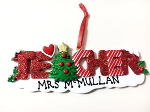 Personalised Teacher Ornament - Christmas Tree Decoration