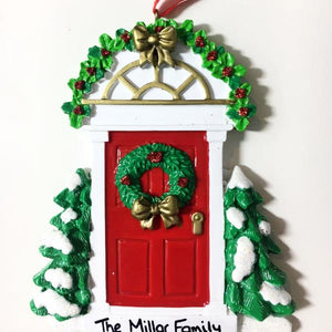 Personalised Red Door with Wreath Ornament - Christmas Tree Decoration