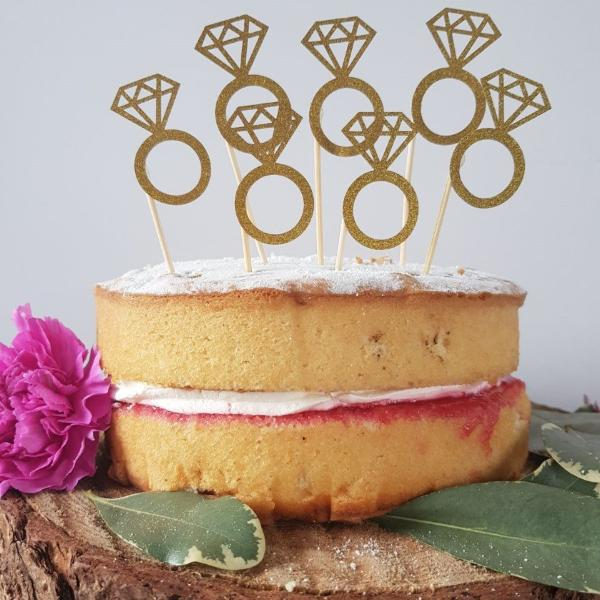 Gold Engagement Ring Cake Topper