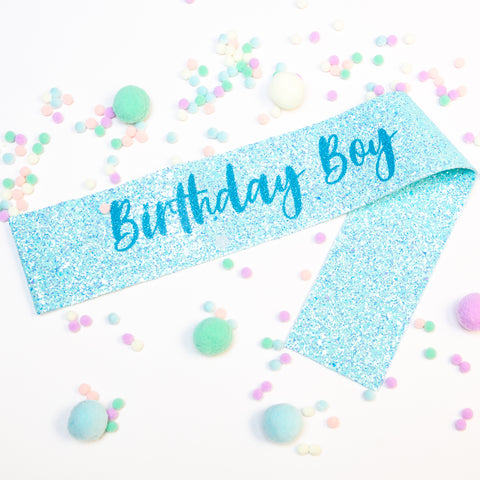 Blue Birthday Boy Glitter Sash - Pom Pom Party