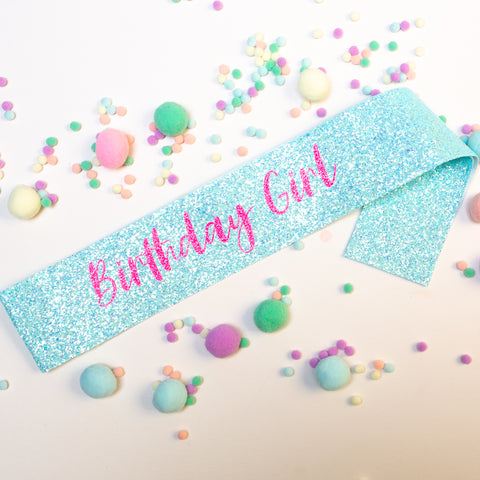 Blue Birthday Girl Glitter Sash - Pom Pom Party