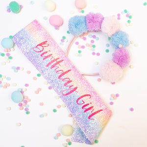 Rainbow sash & hairband set - Pom Pom Party