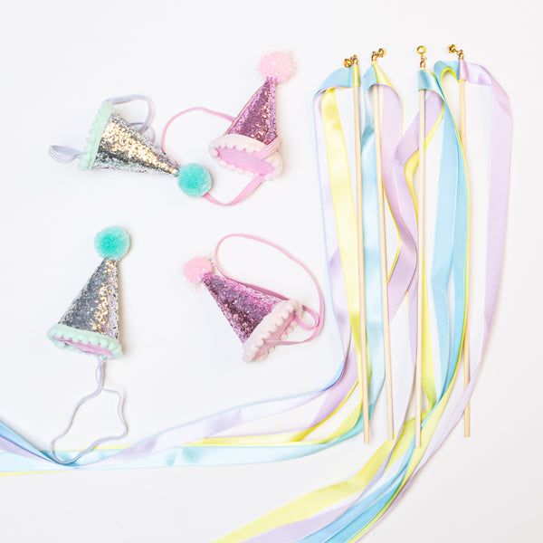 Party Hat & Wand Set - Pom Pom Party