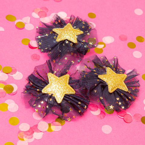 Gold Star Hair Clips - Little Stars Party