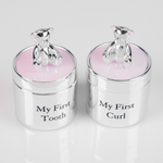 Silver Plated First Tooth & Curl Box Set - Pink