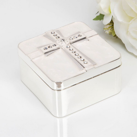 SILVER PLATED & EPOXY CROSS TRINKET BOX