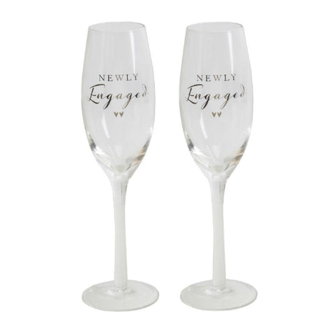 Champagne Flute Set - Newly Engaged