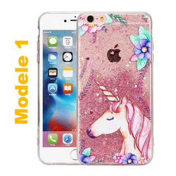 coque licorne paillette rose