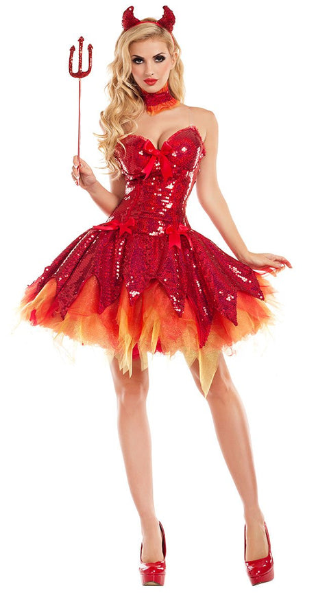 Party King Hellfire Darling Devil Costume Womens Adult Sized Costumes - Nastassy