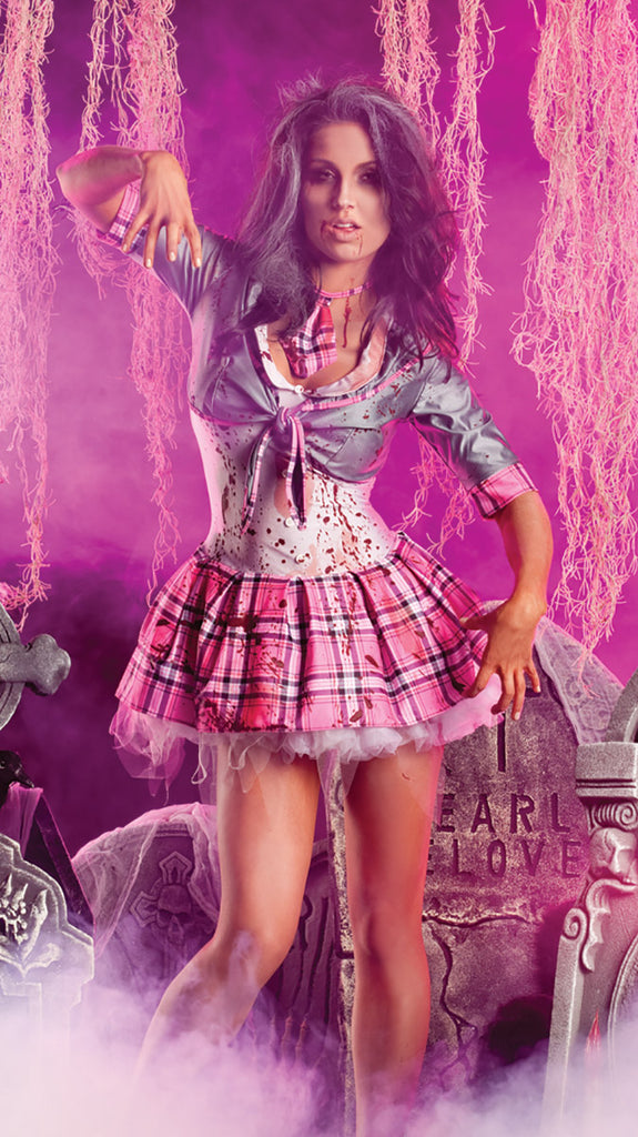Party King School Girl Zombie Womens Adult Sized Costumes - Nastassy