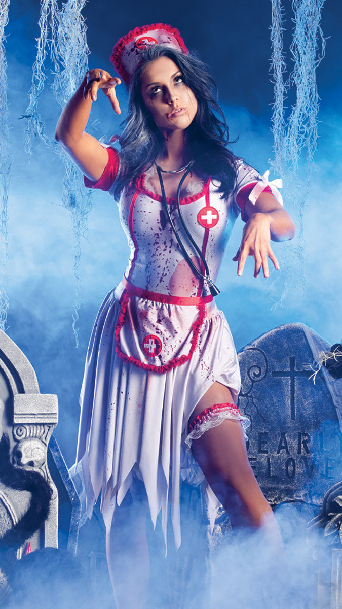Party King Nurse Zombie Costume Womens Adult Sized Costumes - Nastassy