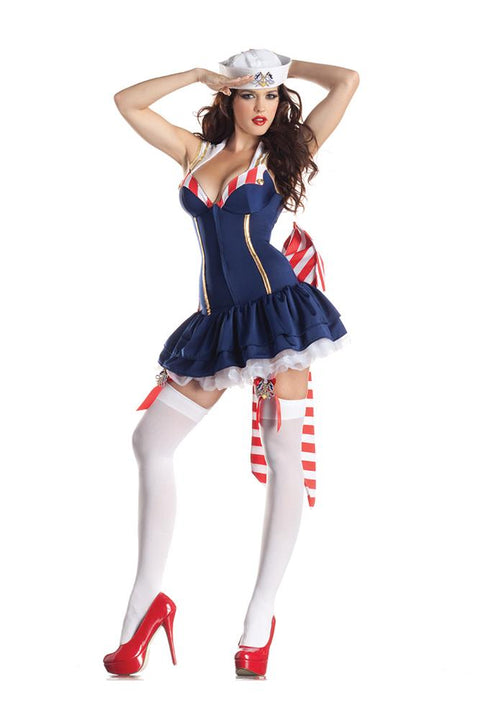 Party King Women's Pin Up Sailor Body Shaper Costume Womens Adult Sized Costumes - Nastassy