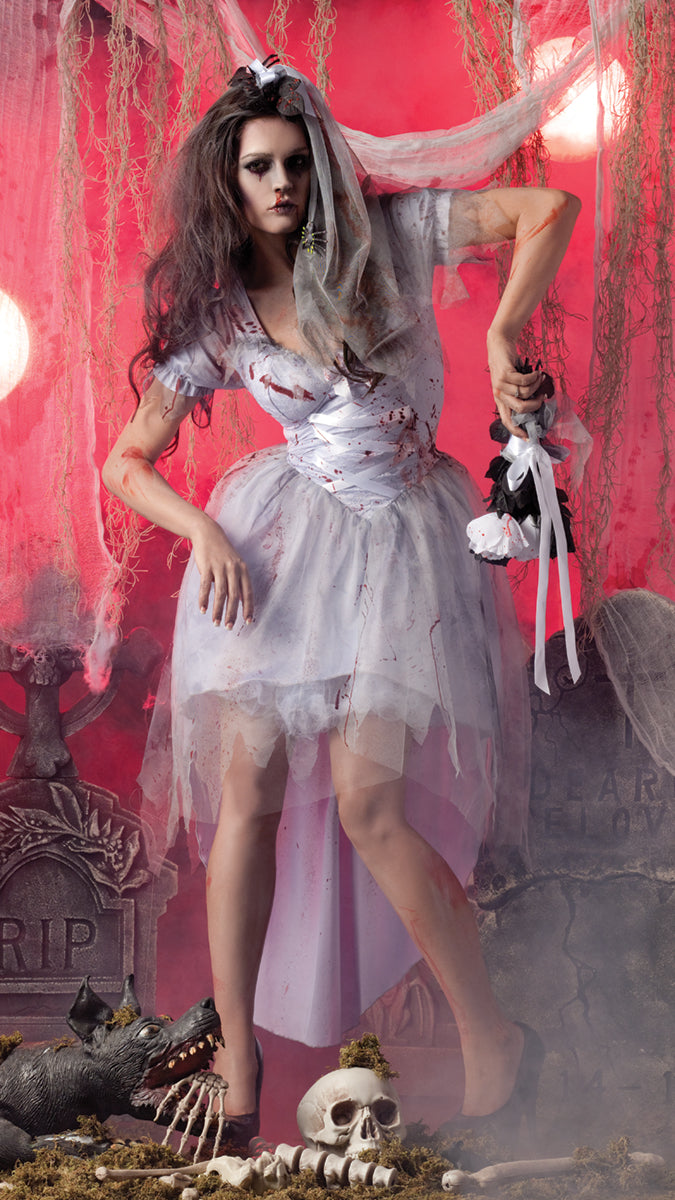 Party King Women's Zombie Bride Costume Womens Adult Sized Costumes - Nastassy
