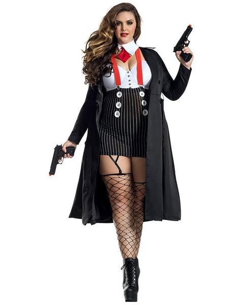 Party King Plus Gangster Babe Costume Womens Adult Sized Costumes - Nastassy