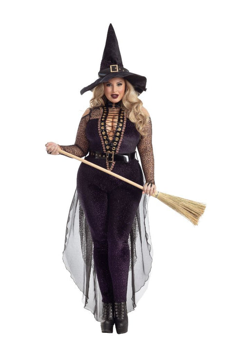 Party King Plus Midnight Violet Witch Costume  - Nastassy