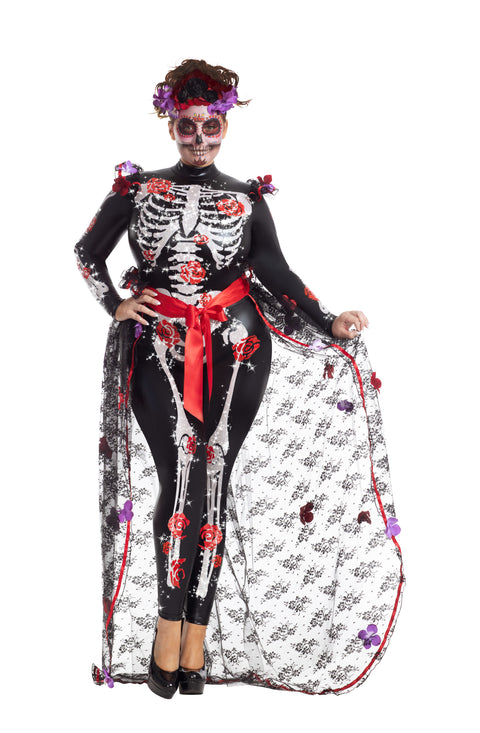 Party King Plus Rosas Day of the Dead Costume  - Nastassy